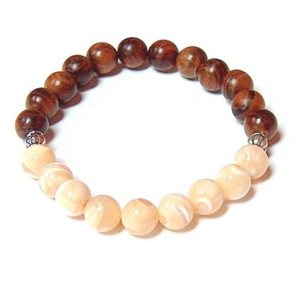 Mother of Pearl & Rosewood Healing Energy Stretch Bracelet