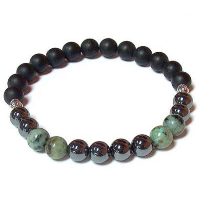 African Turquoise, Hematite & Black Onyx Healing Energy Stretch Bracelet