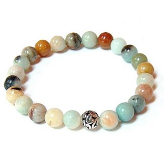 Flower Amazonite Healing Energy Stretch Bracelet