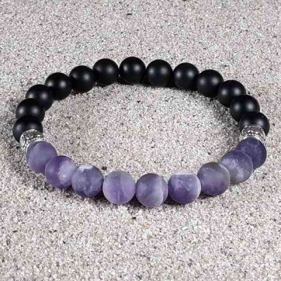 Amethyst & Black Onyx Healing Energy Stretch Bracelet