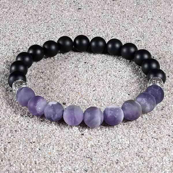 Amethyst & Black Onyx Healing Energy Stretch Bracelet