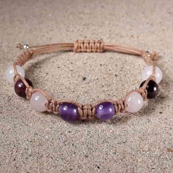Amethyst, Rose Quartz, Garnet & Snow Quartz Healing Energy Bracelet