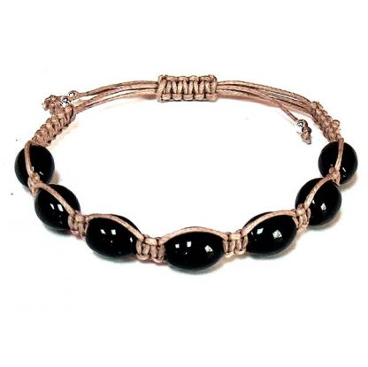 Black Onyx Barrel Healing Energy Bracelet