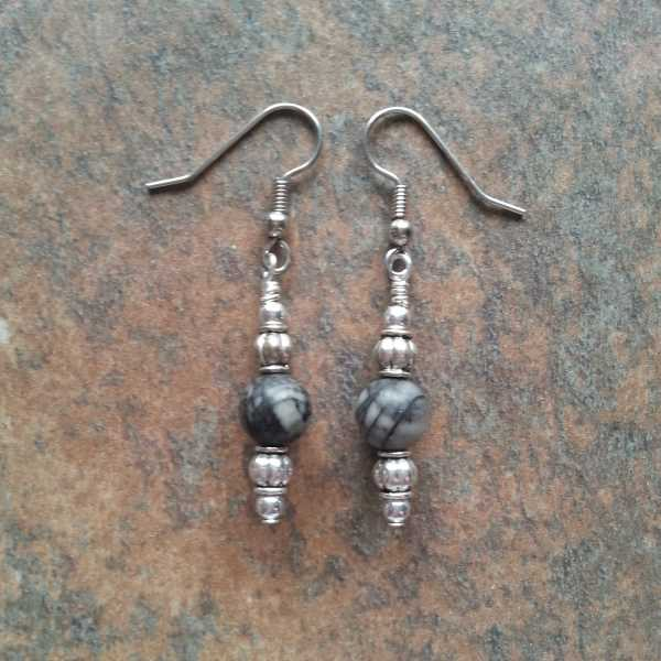 Black Silk Stone Earrings