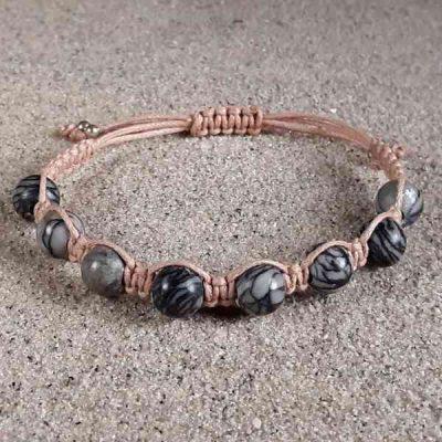 Black Silk Stone Healing Energy Bracelet