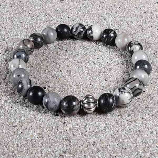 Black Silk Stone Healing Energy Stretch Bracelet