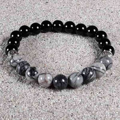 Black Silk Stone & Onyx Healing Energy Stretch Bracelet