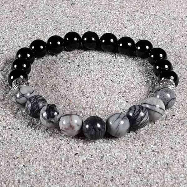 Black Silk Stone & Onyx Healing Energy Stretch Bracelet
