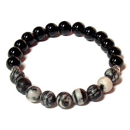 Black Silk Stone & Black Onyx Healing Energy Stretch Bracelet
