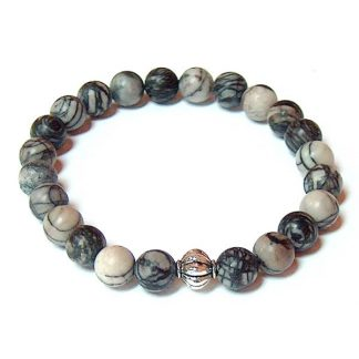 Black Silk Stone Healing Energy Stretch Bracelet