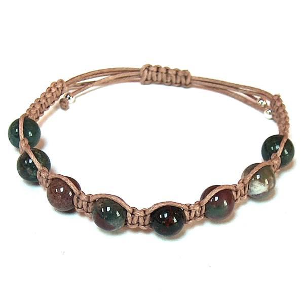 Stretch Bracelet Healing Gemstone Bracelet Bloodstone Bracelet Heliotrope