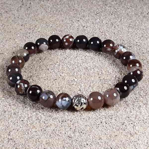 Espresso Brown Agate Healing Energy Stretch Bracelet