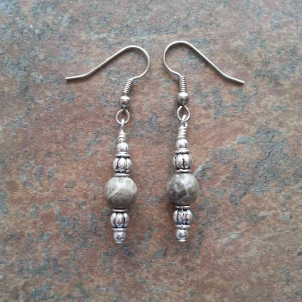 Brown Fossil Coral Earrings