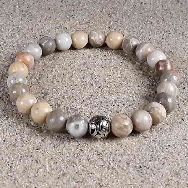 Brown Fossil Coral Healing Energy Stretch Bracelet