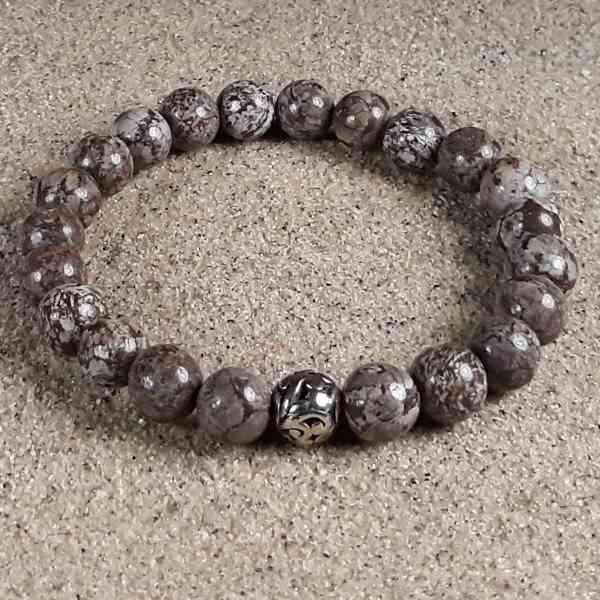 Brown Snowflake Jasper Healing Energy Stretch Bracelet