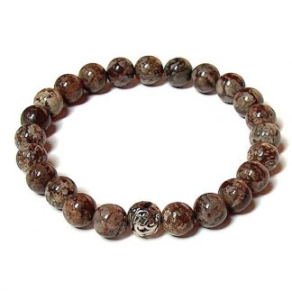 Brown Snowflake Jasper Healing Energy Stretch Bracelet