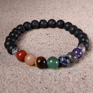 Chakra Balance w/ Black Lava Healing Energy Stretch Bracelet