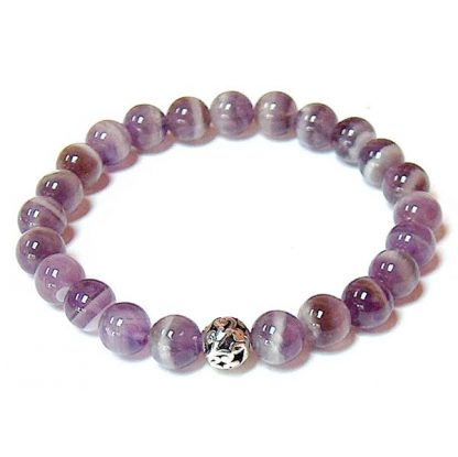 Chevron Amethyst Healing Energy Stretch Bracelet