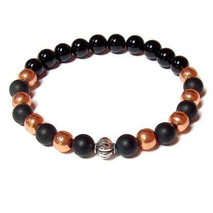 Copper & Black Onyx Healing Energy Stretch Bracelet