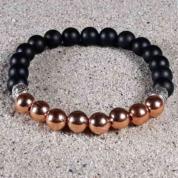 Copper & Black Onyx Healing Energy Stretch Bracelet