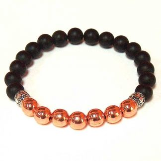 Copper & Matte Black Onyx Stretch Energy Bracelet