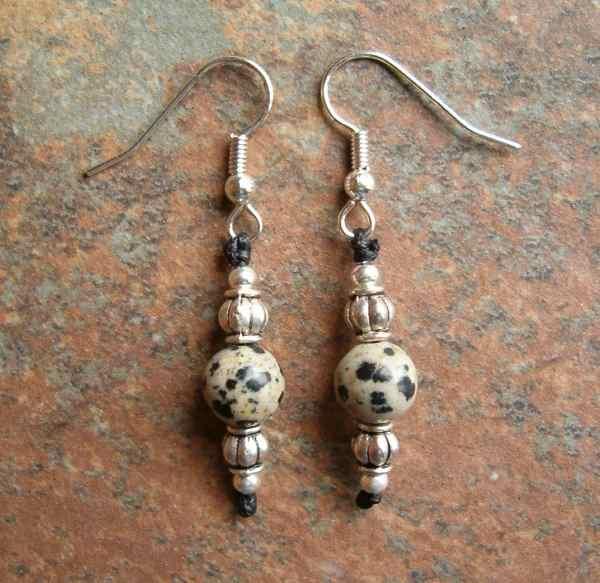 Dalmatian Stone Earrings
