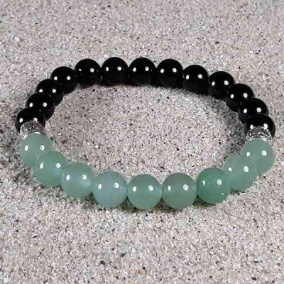 Green Aventurine & Black Onyx Healing Energy Stretch Bracelet