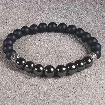 Hematite & Black Onyx Healing Energy Stretch Bracelet