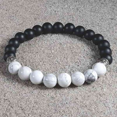 Howlite & Black Onyx Healing Energy Stretch Bracelet