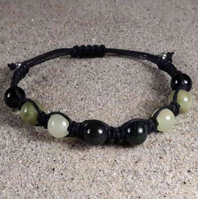 Jade, New Jade, Serpentine & Black Obsidian Healing Energy Bracelet
