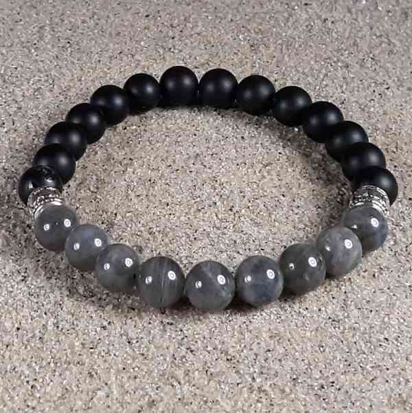 Labradorite & Black Onyx Healing Energy Stretch Bracelet