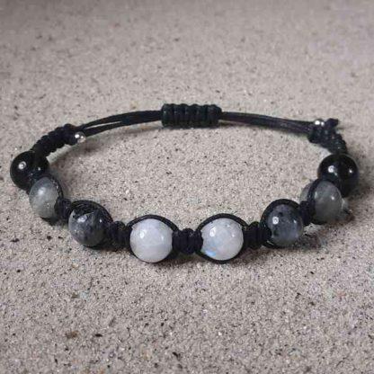 Moonstone, Labradorite, Larvikite & Black Obsidian Healing Energy Bracelet