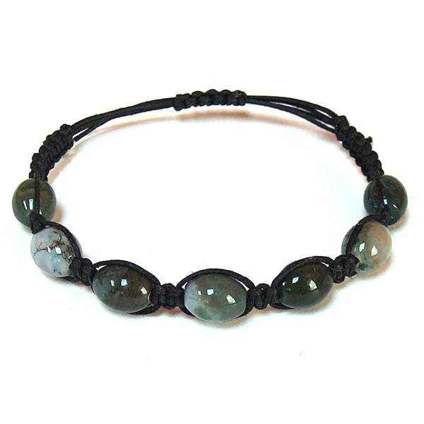 Moss Agate Barrel Healing Energy Bracelet