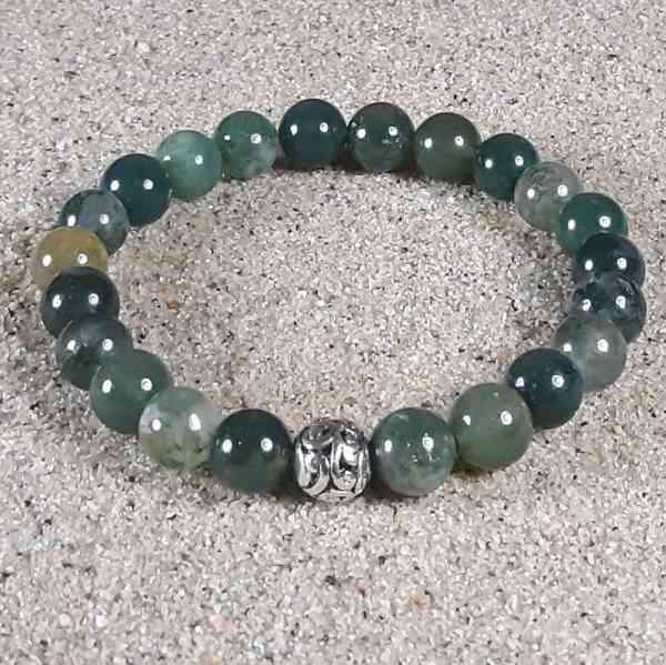 Moss Agate Healing Energy Stretch Bracelet