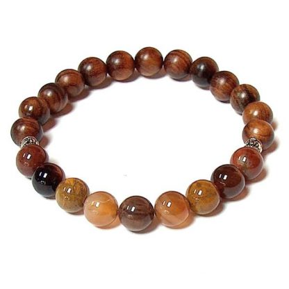 Petrified Wood & Rosewood Healing Energy Stretch Bracelet
