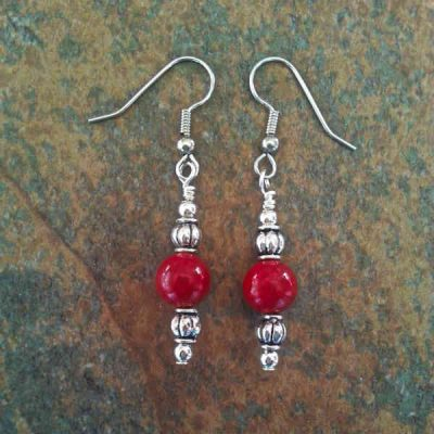 Red Fossil Earrings