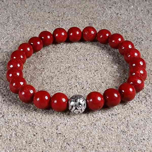 Red Fossil Coral Healing Energy Stretch Bracelet