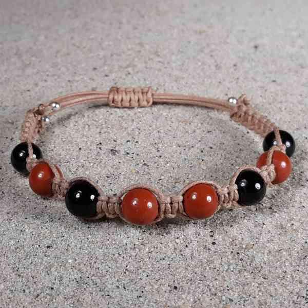Red Jasper & Black Tourmaline Healing Energy Bracelet