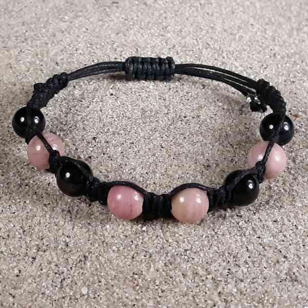 Rhodonite & Black Obsidian Healing Energy Bracelet