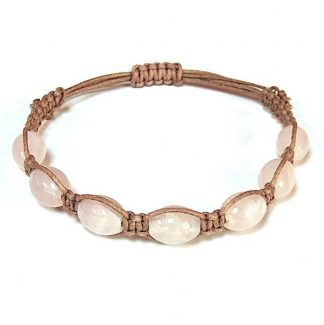 Rose Quartz Barrel Healing Energy Bracelet