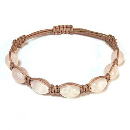 Rose Quartz Barrel Healing Energy Bracelet