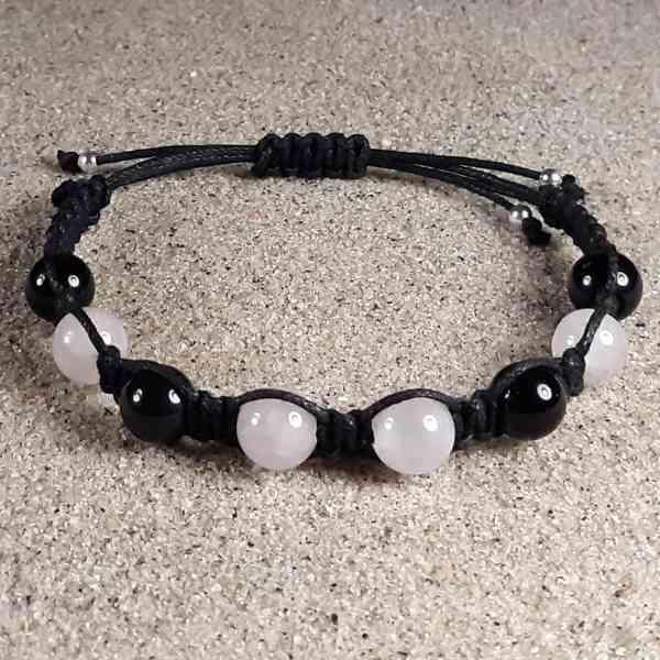Rose Quartz & Black Obsidian Healing Energy Bracelet