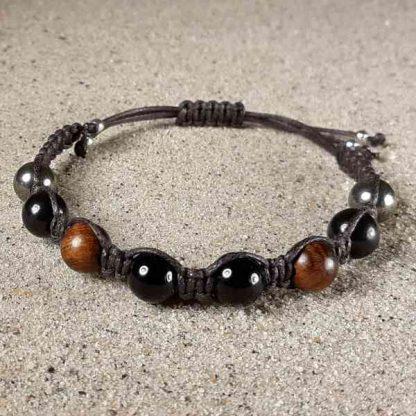 Genuine Shungite, Black Tourmaline, Rosewood & Pyrite Positive Energy Bracelet