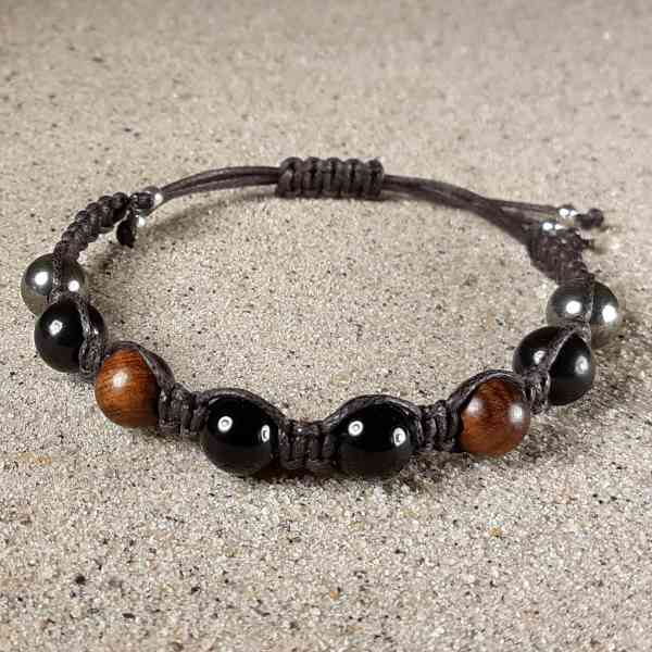 Genuine Shungite, Black Tourmaline, Rosewood & Pyrite Positive Energy Bracelet