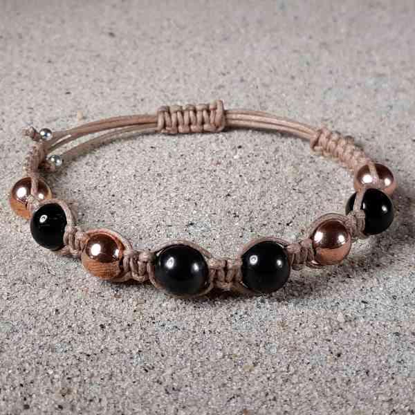Shungite, Copper & Black Tourmaline Healing Energy Bracelet for EMF protection