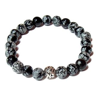 Snowflake Obsidian Healing Energy Stretch Bracelet