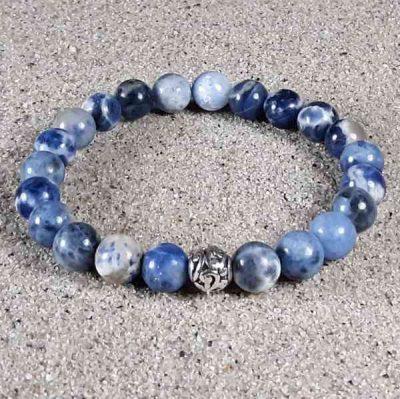 Blue & White Sodalite Healing Energy Stretch Bracelet