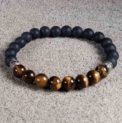 Tiger Eye & Black Onyx Healing Energy Stretch Bracelet